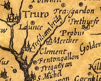 17th century map of tresillian area