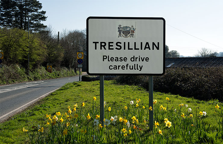 Eastern approach to Tresillian Village photo copyright Keith Littlejohns