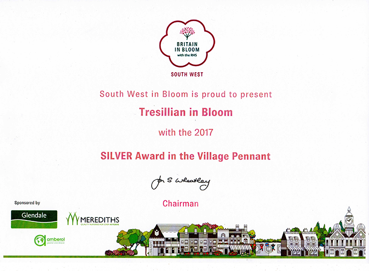 Tresillian Village awarded Silver Pennant Britain in Boom South West 2017